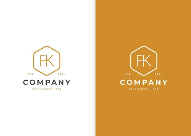 Minimalistyczne logo litery fk o geometrycznym kształcie