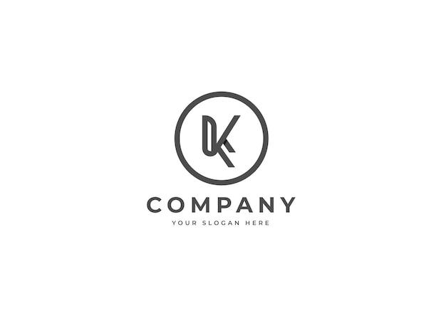 Minimalistyczne logo litery k w kształcie koła