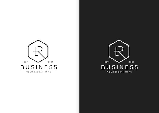Minimalistyczne logo litery r z szablonem projektu geometrycznego kształtu