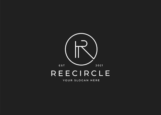 Minimalistyczne logo litery r z szablonem projektu w kształcie koła