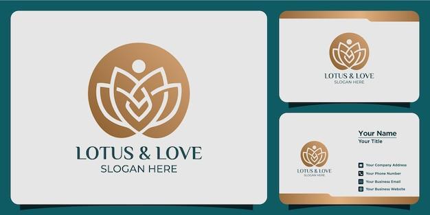 Minimalistyczne logo lotosu w stylu linii z brandingiem na wizytówce