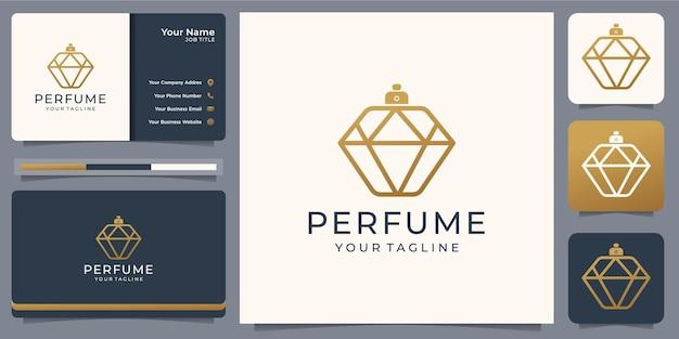Minimalistyczne logo luksusowych perfum z szablonem wizytówki