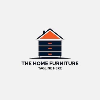 Minimalistyczne logo mebli w kształcie domu