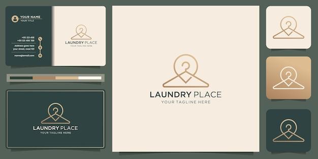 Minimalistyczne logo mody wieszaków z projektem lokalizacji pinów. kreatywna koncepcja inspiracji miejsca prania