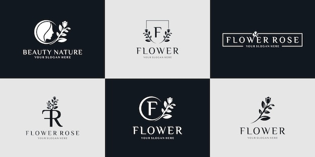 Minimalistyczne logo natury i kolekcja ikon