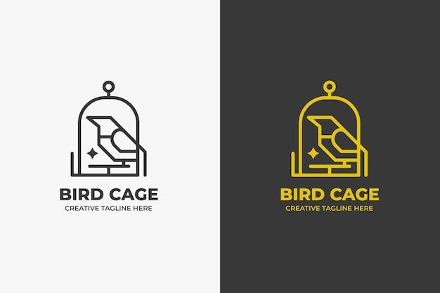 Minimalistyczne logo ptaka w klatce