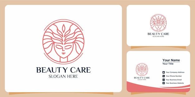 Minimalistyczne logo urody z projektem logo w stylu sztuki linii i szablonem wizytówki