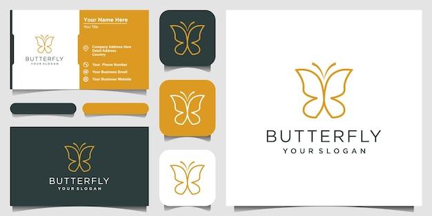 Minimalistyczne logo w kształcie monogramu linii motyla piękno luksusowe logo i ikona w stylu spa