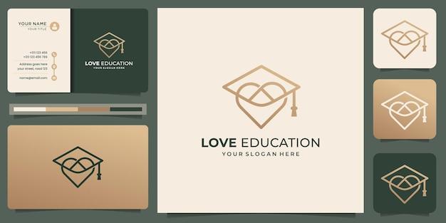 Minimalistyczne logo w stylu liniowym miłości z szablonem projektu kapelusza edukacyjnego.logo i szablon wizytówki