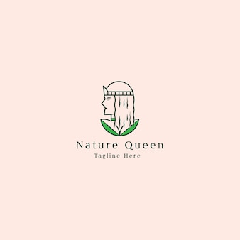 Minimalistyczne logo z piękną damą i liściem