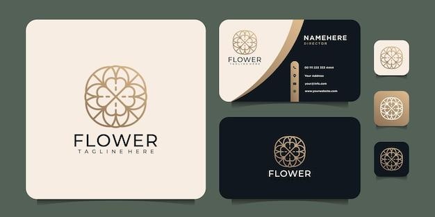 Minimalistyczne logo złotego kwiatu z monogramem