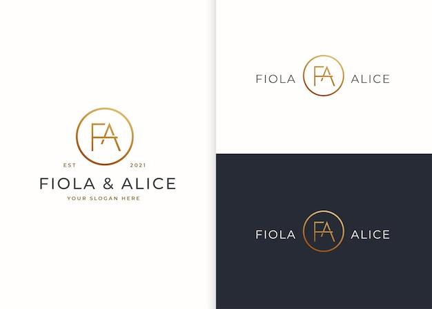 Minimalistyczne luksusowe logo letter fa z kształtem koła
