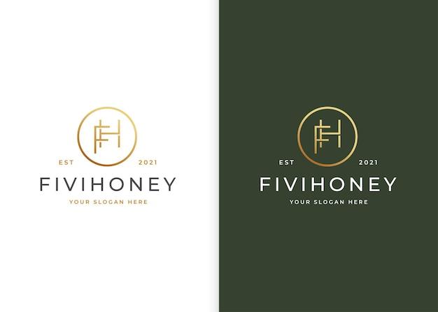 Minimalistyczne luksusowe logo litery fh z kształtem koła