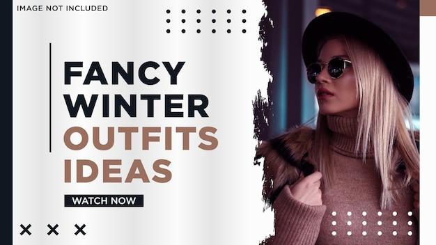 Minimalistyczne media społecznościowe miniatura moda zimowa w stylu splash
