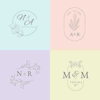 Minimalistyczne monogramy ślubne w pastelowych kolorach