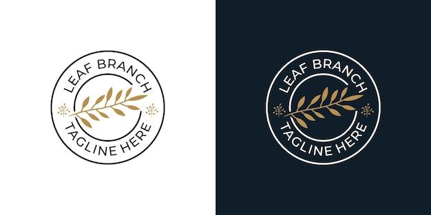 Minimalistyczne organiczne logo oddziału kwiatu liści