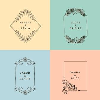 Minimalistyczne pastelowe kolory ślubne monogramy
