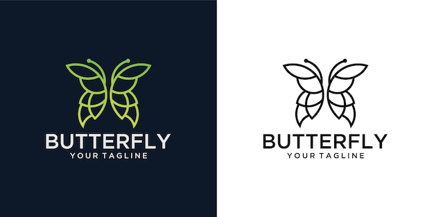 Minimalistyczne piękno linii motyli, luksusowy styl spa. projekt logo