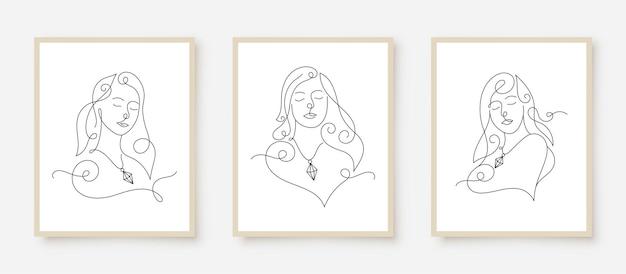 Minimalistyczne piękno twarzy kobiety w druku plakatu na ścianie