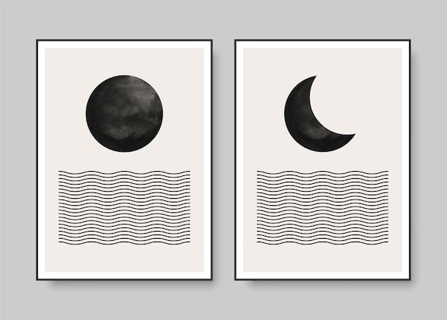 Minimalistyczne plakaty artystyczne przedstawiające księżyc w pełni i ubywający nad morzem