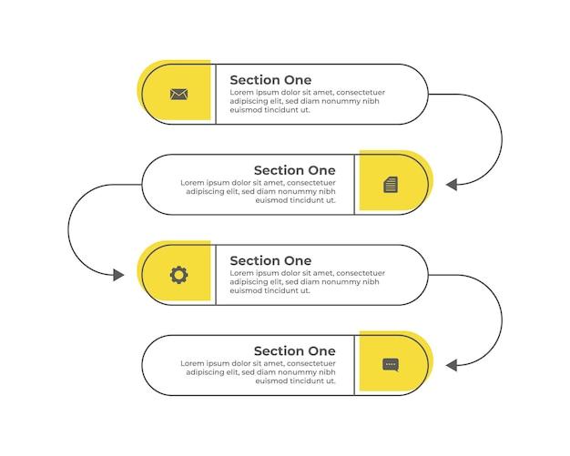 Minimalistyczne płaskie kreatywne eleganckie żółte infografiki