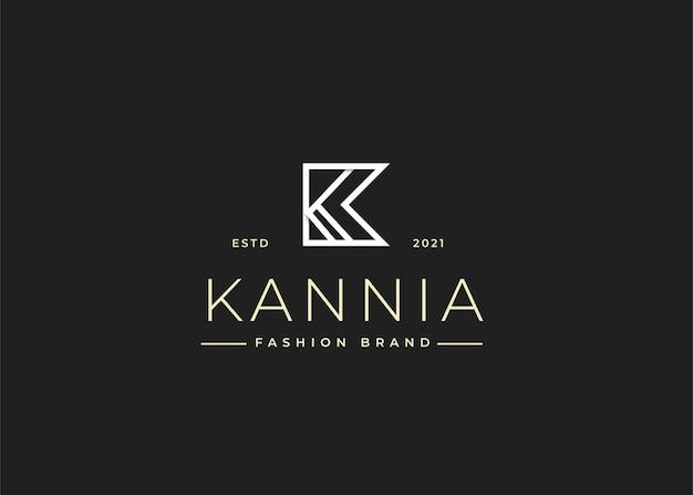 Minimalistyczne początkowe ilustracje szablonu projektu logo litery k