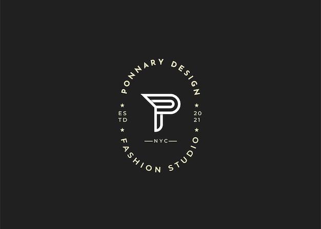 Minimalistyczne początkowe ilustracje szablonu projektu logo litery p