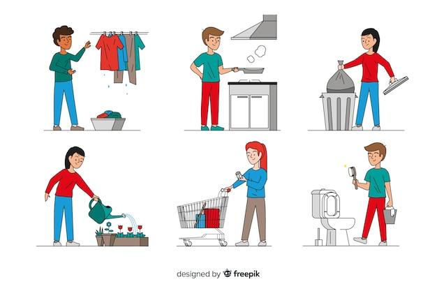 Minimalistyczne postacie wykonujące prace domowe