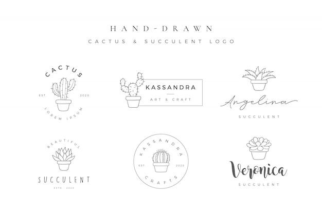 Minimalistyczne ręcznie rysowane kaktus i soczyste logo