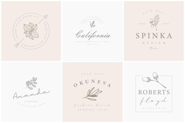 Minimalistyczne, ręcznie rysowane kolekcje kwiatowych logo
