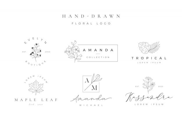 Minimalistyczne ręcznie rysowane kwiatowy logo