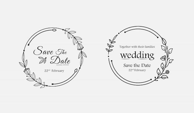 Minimalistyczne ręcznie rysowane kwiatowy wesele odznaki