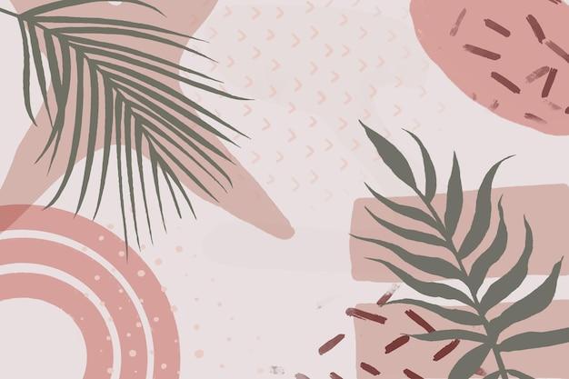 Minimalistyczne ręcznie rysowane tło z liśćmi