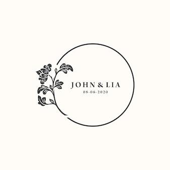 Minimalistyczne ślubne logo szablon