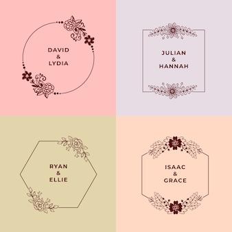 Minimalistyczne ślubne monogramy pakowane w pastelowych kolorach