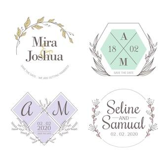 Minimalistyczne ślubne monogramy w pastelowych kolorach, zestaw paczek