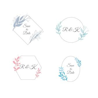 Minimalistyczne ślubne monogramy w pastelowych kolorach