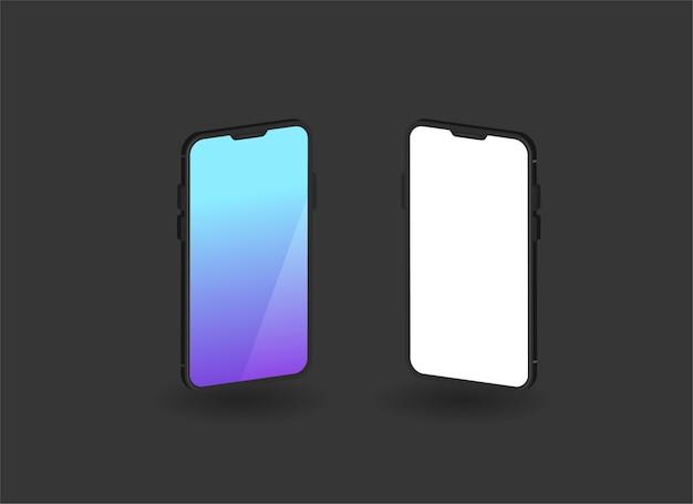 Minimalistyczne smartfony do prezentacji na białym tle
