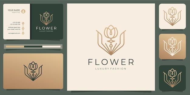 Minimalistyczne szablony logo kwiat róży i projektowanie wizytówek