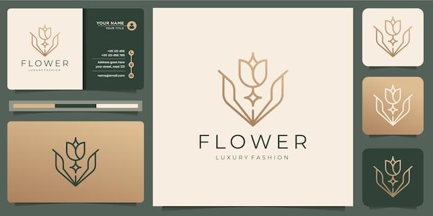 Minimalistyczne Szablony Logo Kwiat Róży I Projektowanie Wizytówek Premium Wektorów