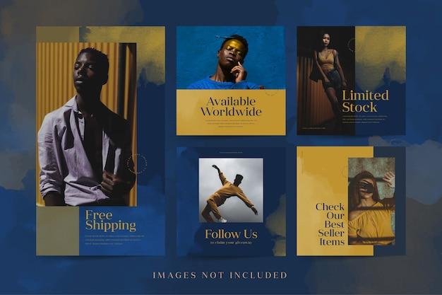 Minimalistyczne szablony postów i opowieści w mediach społecznościowych do promocji mody