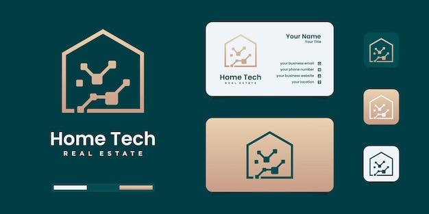 Minimalistyczne szablony projektu logo technologii domowej.