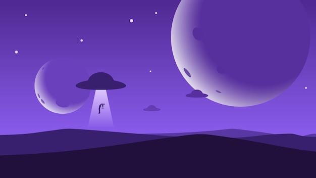 Minimalistyczne tło górskiego krajobrazu, ufo porywa na nocnym niebie człowieka, planety lub księżyce.