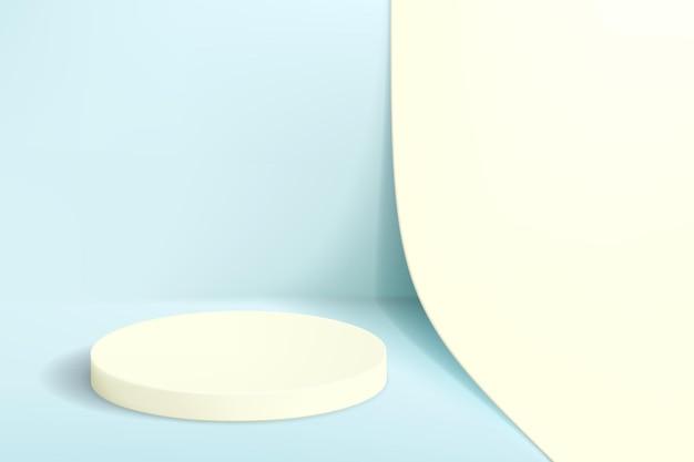 Minimalistyczne tło w pastelowych kolorach z pustym postumentem do prezentacji produktu.