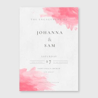 Minimalistyczne zaproszenia ślubne akwarela