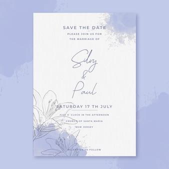 Minimalistyczne zaproszenie na ślub akwarela