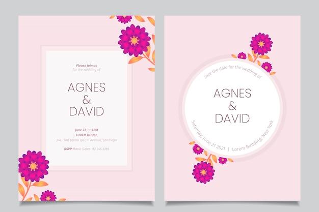 Minimalistyczne zaproszenie na ślub kwiatowy