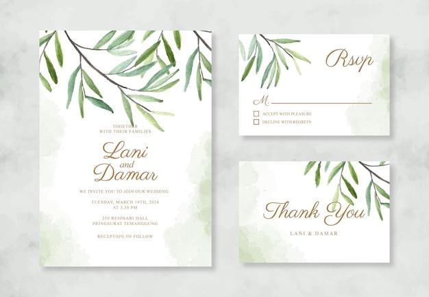 Minimalistyczne zaproszenie na ślub z akwarelowymi liśćmi
