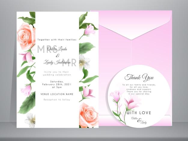 Minimalistyczne zaproszenie na ślub z eleganckimi ręcznie rysowanymi kwiatami i liśćmi