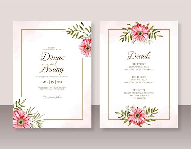 Minimalistyczne zaproszenie na ślub z kwiatową akwarelą